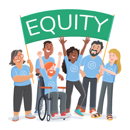 Equity banner with team